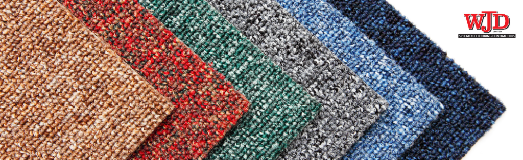 selection of colourful carpet tiles